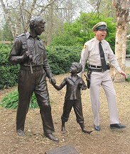 Raleigh, NC - The Mayberry Deputy with TV Land Landmark statue honoring The Andy Griffith Show.